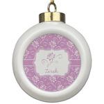 Lotus Flowers Ceramic Ball Ornament (Personalized)