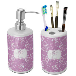 Lotus Flowers Bathroom Accessories Set (Ceramic) (Personalized)