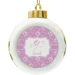 Lotus Flowers Ceramic Ball Ornament (Personalized)