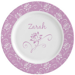 Lotus Flowers Ceramic Dinner Plates (Set of 4) (Personalized)
