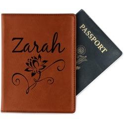Lotus Flowers Leatherette Passport Holder (Personalized)