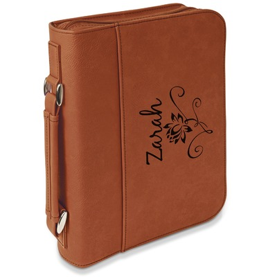 Lotus Flowers Leatherette Book / Bible Cover with Handle & Zipper (Personalized)