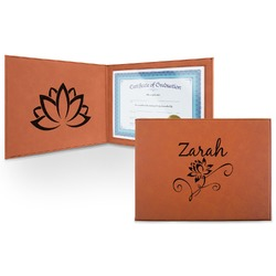 Lotus Flowers Leatherette Certificate Holder (Personalized)