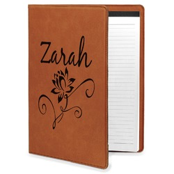Lotus Flowers Leatherette Portfolio with Notepad (Personalized)