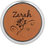 Lotus Flowers Leatherette Round Coaster w/ Silver Edge - Single or Set (Personalized)