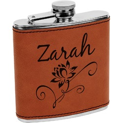 Lotus Flowers Leatherette Wrapped Stainless Steel Flask (Personalized)