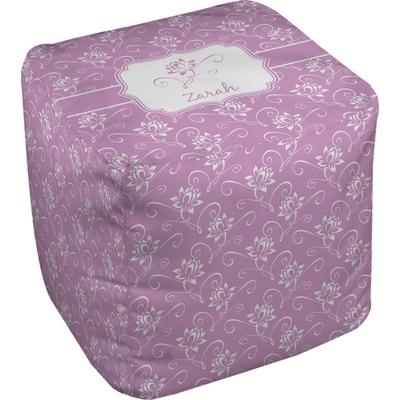 Lotus Flowers Cube Pouf Ottoman (Personalized)