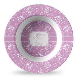 Lotus Flowers Plastic Bowl - Microwave Safe - Composite Polymer (Personalized)