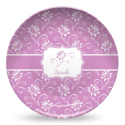 Lotus Flowers Microwave Safe Plastic Plate - Composite Polymer (Personalized)