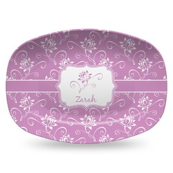Lotus Flowers Plastic Platter - Microwave & Oven Safe Composite Polymer (Personalized)