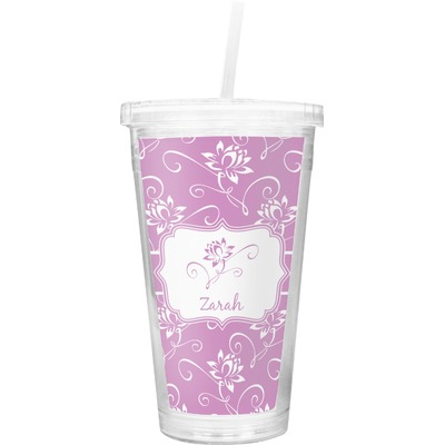 Lotus Flowers Double Wall Tumbler with Straw (Personalized)