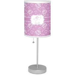 """Lotus Flowers 7"""" Drum Lamp with Shade Linen (Personalized)"""
