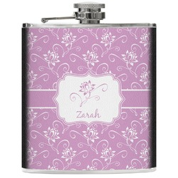 Lotus Flowers Genuine Leather Flask (Personalized)