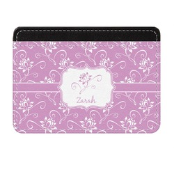 Lotus Flowers Genuine Leather Front Pocket Wallet (Personalized)