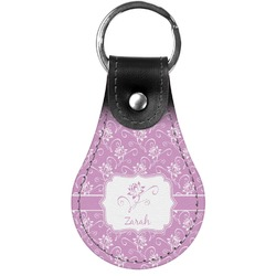 Lotus Flowers Genuine Leather  Keychain (Personalized)