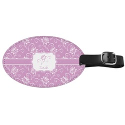 Lotus Flowers Genuine Leather Oval Luggage Tag (Personalized)