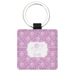 Lotus Flowers Genuine Leather Rectangular Keychain (Personalized)
