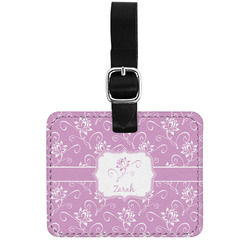Lotus Flowers Genuine Leather Luggage Tag w/ Name or Text