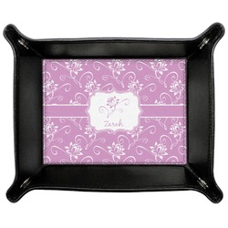 Lotus Flowers Genuine Leather Valet Tray (Personalized)