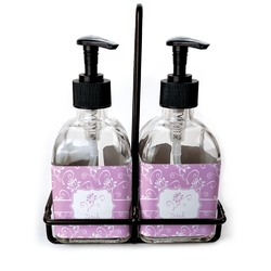 Lotus Flowers Glass Soap & Lotion Bottles (Personalized)