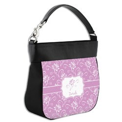 Lotus Flowers Hobo Purse w/ Genuine Leather Trim (Personalized)