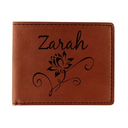 Lotus Flowers Leatherette Bifold Wallet (Personalized)