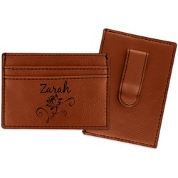 Lotus Flowers Leatherette Wallet with Money Clip (Personalized)
