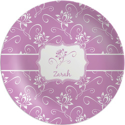 "Lotus Flowers Melamine Plate - 8"" (Personalized)"