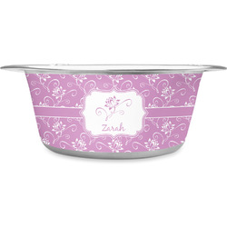 Lotus Flowers Stainless Steel Pet Bowl (Personalized)