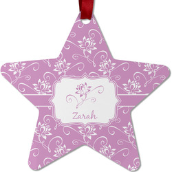 Lotus Flowers Metal Star Ornament - Double Sided w/ Name or Text