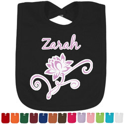 Lotus Flowers Baby Bib - 14 Bib Colors (Personalized)