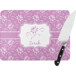 Lotus Flowers Rectangular Glass Cutting Board (Personalized)