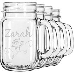 Lotus Flowers Mason Jar Mugs (Set of 4) (Personalized)