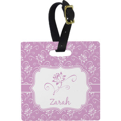 Lotus Flowers Square Luggage Tag (Personalized)