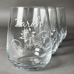 Lotus Flowers Wine Glasses (Stemless- Set of 4) (Personalized)