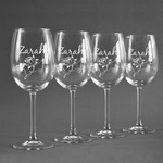 Lotus Flowers Wine Glasses (Set of 4) (Personalized)