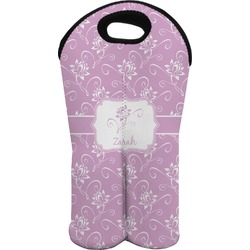 Lotus Flowers Wine Tote Bag (2 Bottles) (Personalized)
