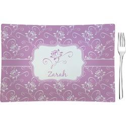 Lotus Flowers Rectangular Glass Appetizer / Dessert Plate - Single or Set (Personalized)