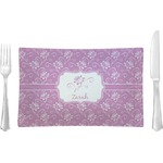 Lotus Flowers Glass Rectangular Lunch / Dinner Plate - Single or Set (Personalized)