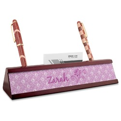 Lotus Flowers Red Mahogany Nameplate with Business Card Holder (Personalized)