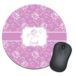 Lotus Flowers Round Mouse Pad (Personalized)