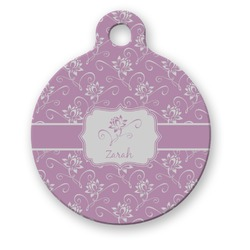 Lotus Flowers Round Pet ID Tag (Personalized)