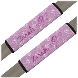 Lotus Flowers Seat Belt Covers (Set of 2) (Personalized)