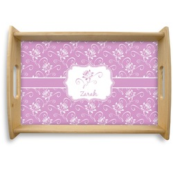 Lotus Flowers Natural Wooden Tray (Personalized)
