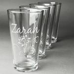 Lotus Flowers Beer Glasses (Set of 4) (Personalized)