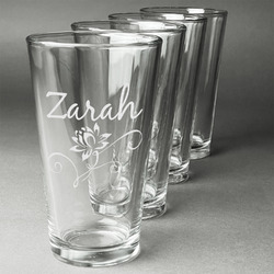 Lotus Flowers Beer Glasses (Set of 4) (Personalized)