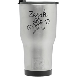 Lotus Flowers RTIC Tumbler - Silver - Engraved Front (Personalized)