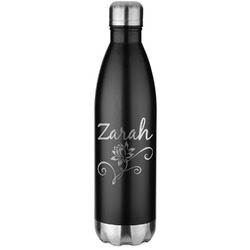 Lotus Flowers Black Water Bottle - 26 oz. Stainless Steel  (Personalized)