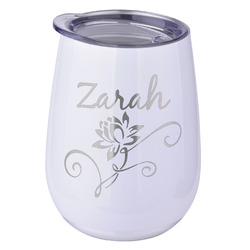 Lotus Flowers Stemless Wine Tumbler - 5 Color Choices - Stainless Steel  (Personalized)