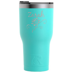 Lotus Flowers RTIC Tumbler - Teal (Personalized)